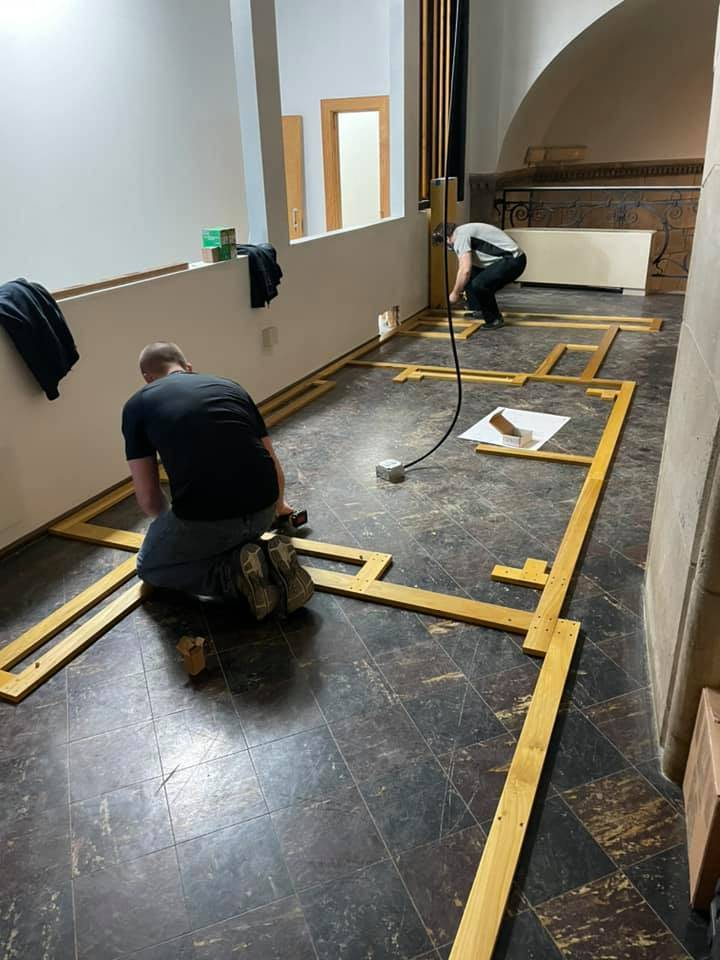 Installing and leveling the floor frame