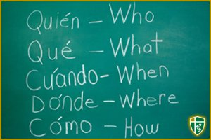 Spanish and English words on a chalkboard